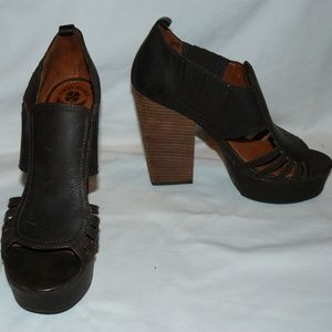Lucky Brand PALMA Brown Leather Platform Heels
